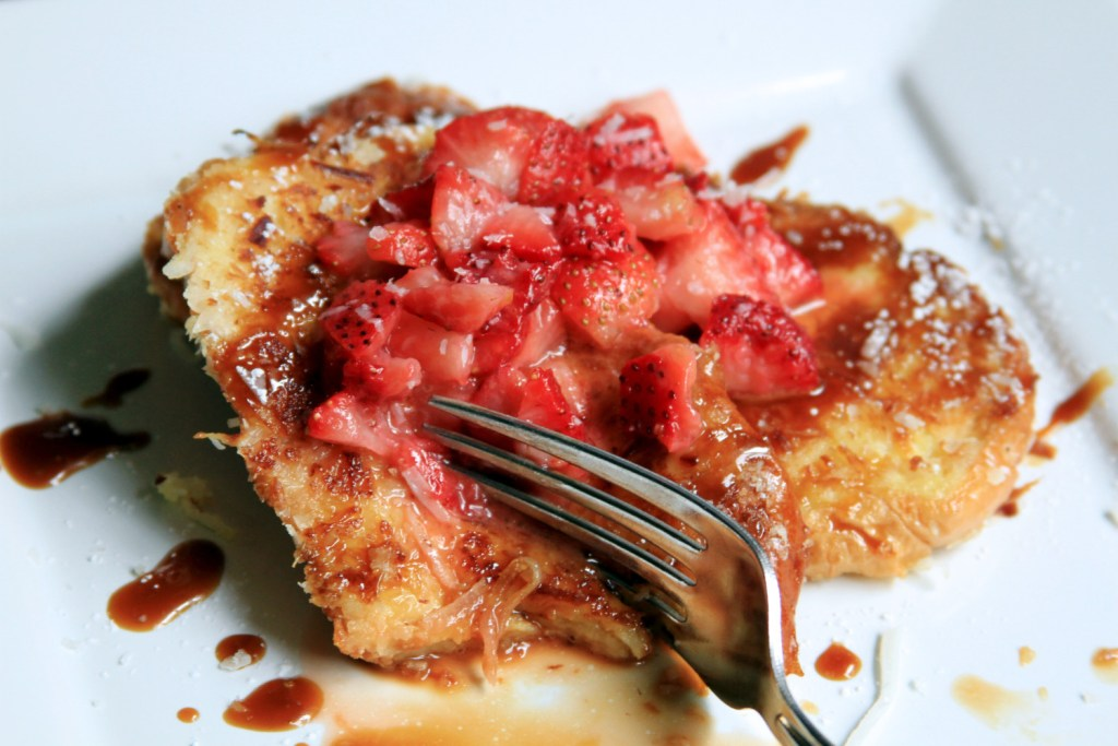 Coconut Caramel French Toast w/ Macerated Berries | Bites of Life