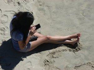 On the beach, on the Internet.