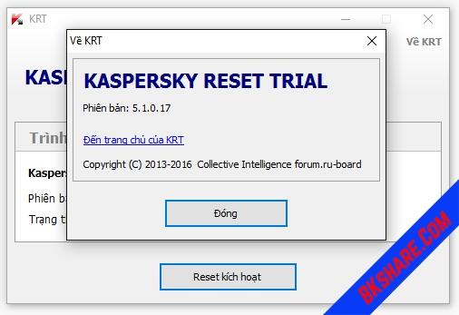 Download Kaspersky Reset Trial 5.1.0.17 mới nhất