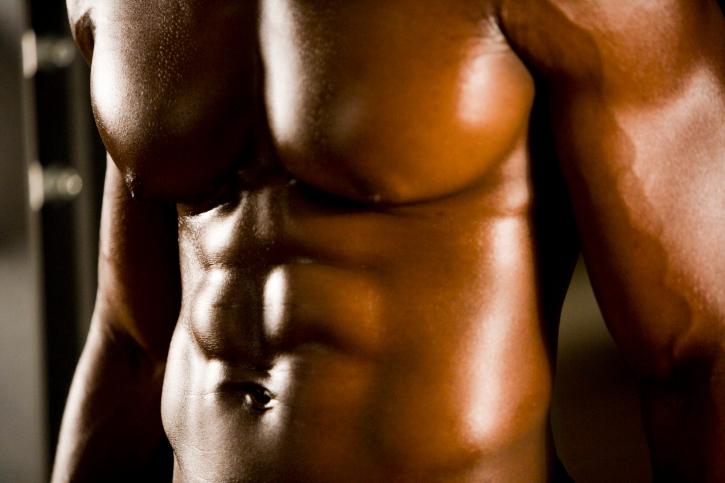 shirtless african american man