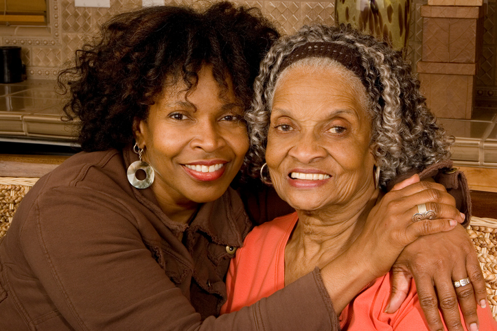 African american senior mother and daughter
