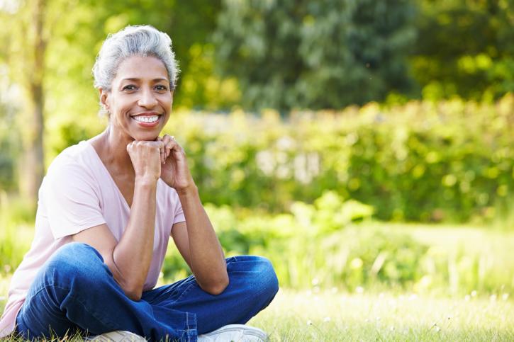 older woman sitting