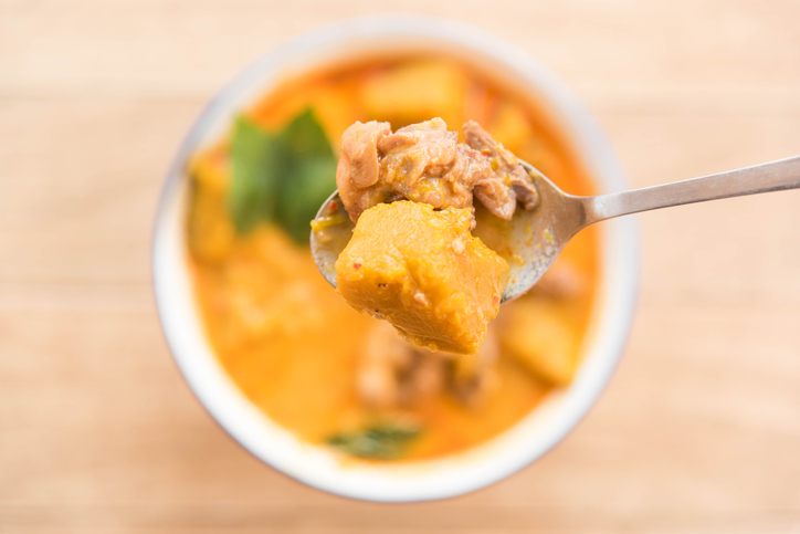 chicken curry with coconut milk and pumpkin,Thai style food