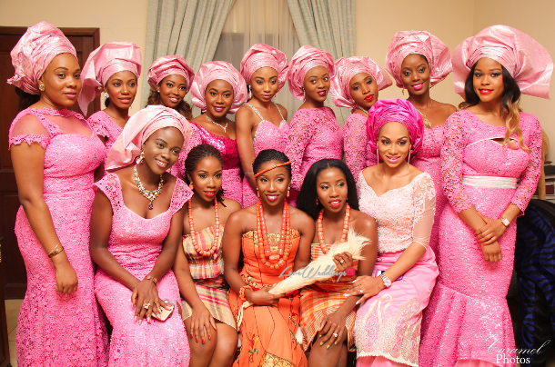 Aso ebi bridesmaids in a subtle pink lace that some girls accentuated