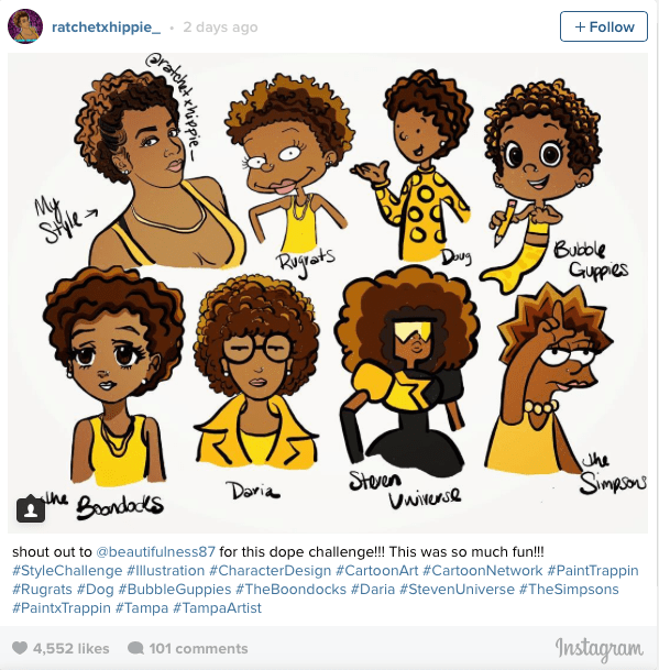 [Pics] 17-Year-Old Black Artist Creates Viral Challenge to Draw Black Women in Cartoon Styles