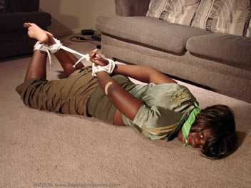 hogtied and gagged catsuit females
