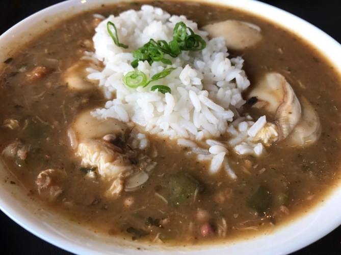 The full portion of gumbo with oysters!