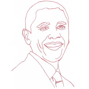 Barack Obama Redwork Block Pattern