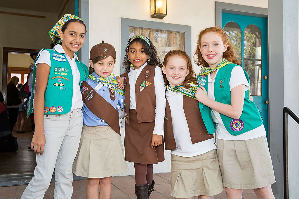 SAN ANTONIO, TX - NOVEMBER 18:  Girl Scouts attend the grand opening of Marisol Deluna New York Design Studio and Educational Foundation at La Villita Historic Art Village on November 18, 2015 in San Antonio, Texas.