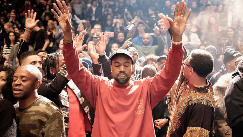 NEW YORK, NY - FEBRUARY 11:  Kanye West performs during Kanye West Yeezy Season 3 on February 11, 2016 in New York City.