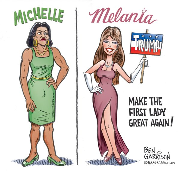 Political Cartoon from Garrison's Twitter Account.