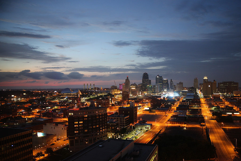 A panoramic view at night time of Kansas City, Missouri, USA. Kansas City, or K.C., is the largest city in the state of Missouri. It is the 37th?largest city by population in the United States and the 23rd?largest by area. Kansas City, Missouri, USA.10th August 2015. Photo Tim Clayton