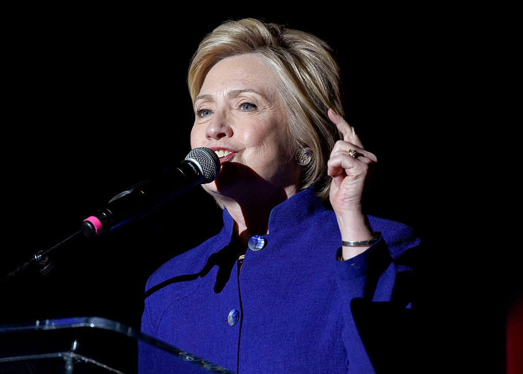 """LOS ANGELES, CA - JUNE 06:  Democratic presidential candidate Hillary Clinton speaks onstage during the """"Hillary Clinton: She's With Us"""" concert at The Greek Theatre on June 6, 2016 in Los Angeles, California."""