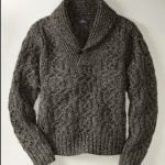 L.L.  Bean Signature Cable Shetland Supply Sweater (Charcoal)