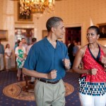 michelle obama and barack obama pretend to march to music on july 4 in white house
