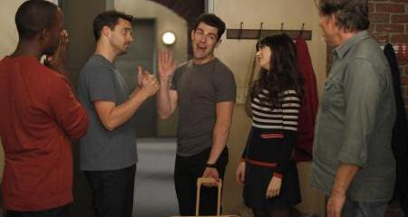 Jess (Zooey Deschanel) and the gang try to dupe their creepy landlord.