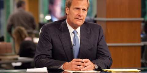 "Jeff Daniels as Will McAvoy on HBO's new Aaron Sorkin-scripted drama, ""The Newsroom."""
