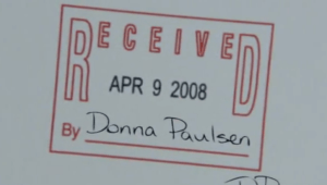 This stamp, with Donna&#039;s signature, confirms that the fraudulent document did reach her desk