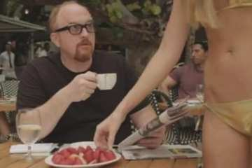 A young blonde takes a strawberry from Louie, and he says she took something she can't have. Ah, Louie.