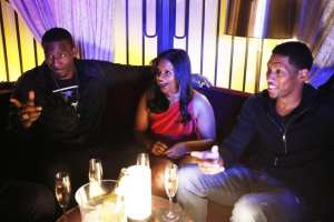 Mindy hangs out in the VIP section with Amar'e Stoudemire and Danny Granger