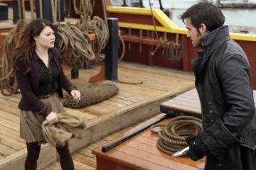 Belle (Emilie de Ravin) faces off with Captain Hook (Colin O' Donoghue)