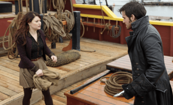 Belle (Emilie de Ravin) faces off with Captain Hook (Colin O' Donoghue)