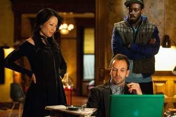 Joan (Lucy Liu), Sherlock (Jonny Lee Miller) and Alfredo (Ato Essandoh) solve the most recent case.