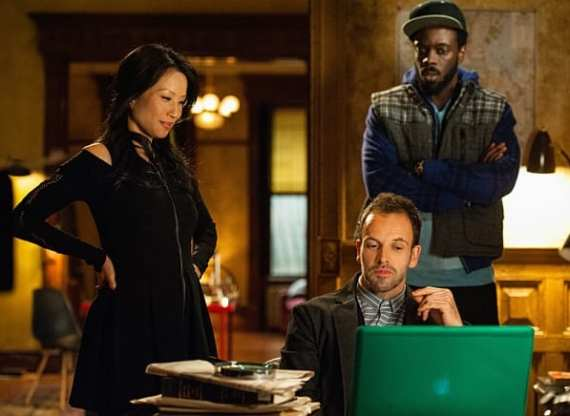 Joan (Lucy Liu), Sherlock (Jonny Lee Miller) and Alfredo (Ato Essandoh) solve the most recent case.
