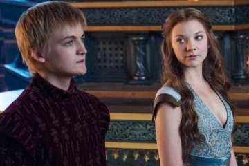 Joffrey (Jack Gleeson) and Margaery (Natalie Dormer) greet a crowd.