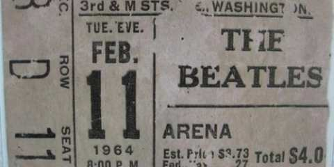 A ticket from the Beatles first American concert which would have cost a whopping 4.00 at the time