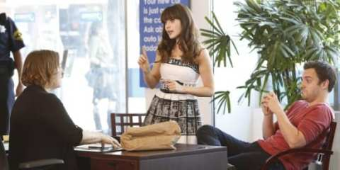 Jess (Zooey Deschane) tries to make amends with Nick (Jake Johnson).
