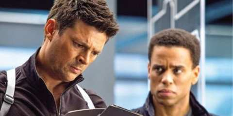 John (Karl Urban) meets his new partner Dorian (Michael Ealy).