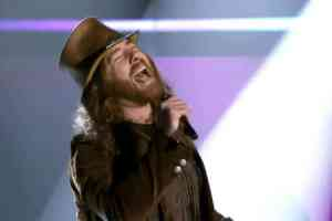 Vocalist Neal Middleton, performing on NBC's The Voice. Media credit: NBC studios.