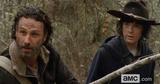 Rick (Andrew Lincoln) and Carl (Chandler Riggs) take center stage in the season finale of The Walking Dead