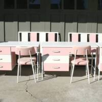 Sugary-sweet 1960s bubblegum pink & white furniture listed on Craigslist