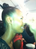 Tracey Reese Fall 2012 backstage with Mally Beauty Makeup Model Fatima