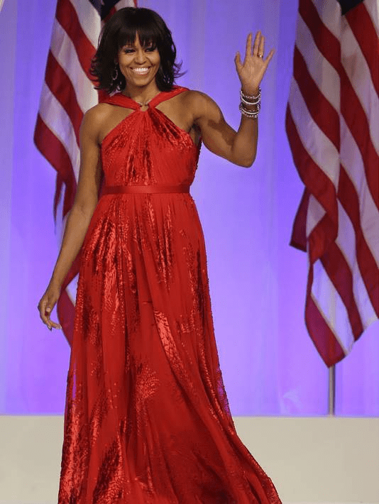 Michelle Obama Jason Wu creation- a long halter-neck ruby chiffon custom gown with velvet details
