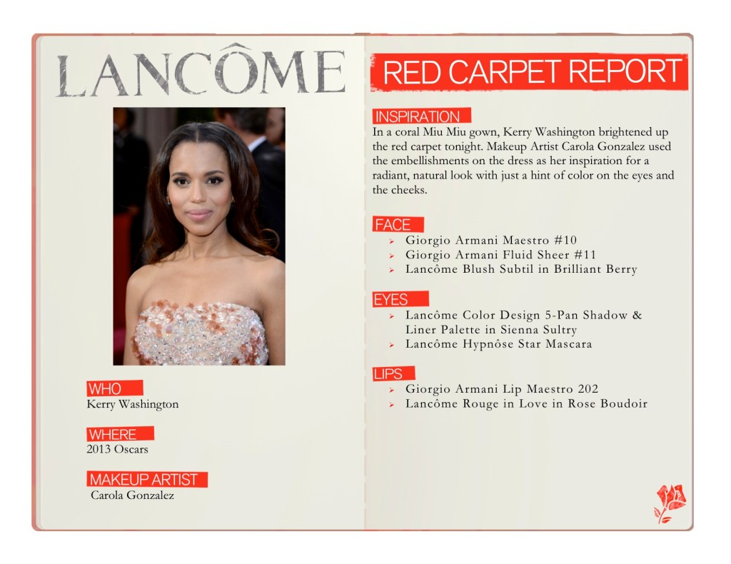 Kerry Washington red carpet makeup at the 2013 Academy Awards #oscars #redcarpet #makeup