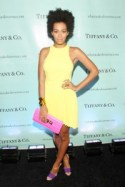 Solange at Tiffany & Co. Launch event wearing yellow Christopher Kane dress