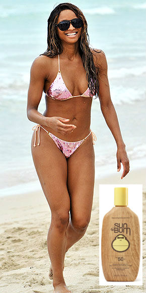 Ciara on the beach sun bum sunscreen