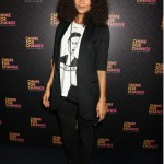 Thandie Newton rocks a fashion forward white tee emblazoned with a portrait of Grace Jones.