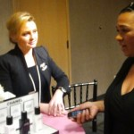 Tracey Brown chatting with Chanel rep at Nordstrom Beauty Blush Hour about New Chanel Serums exclusive to Nordstrom
