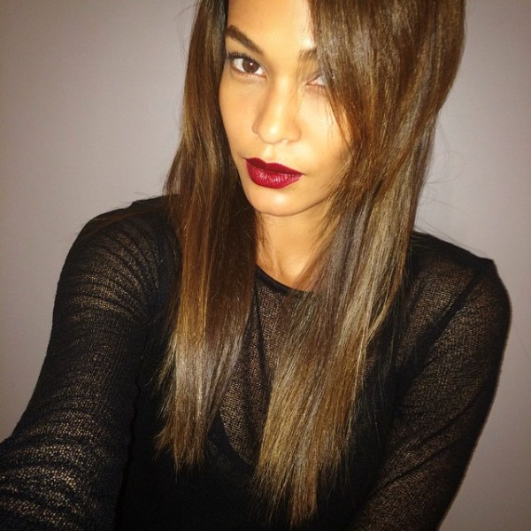 joan smalls dark red lipstick
