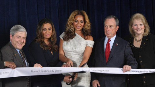 Ribbon Cutting Beyonce' Cosmetology Center New York March 5, 2010 Getty Images