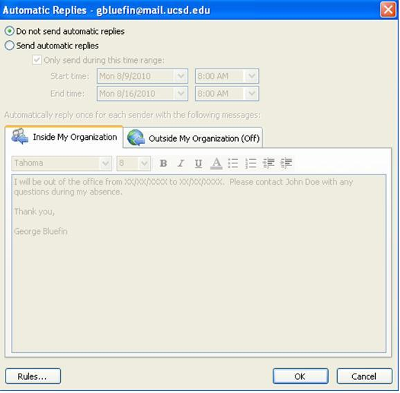 how to set vacation message in outlook 2010