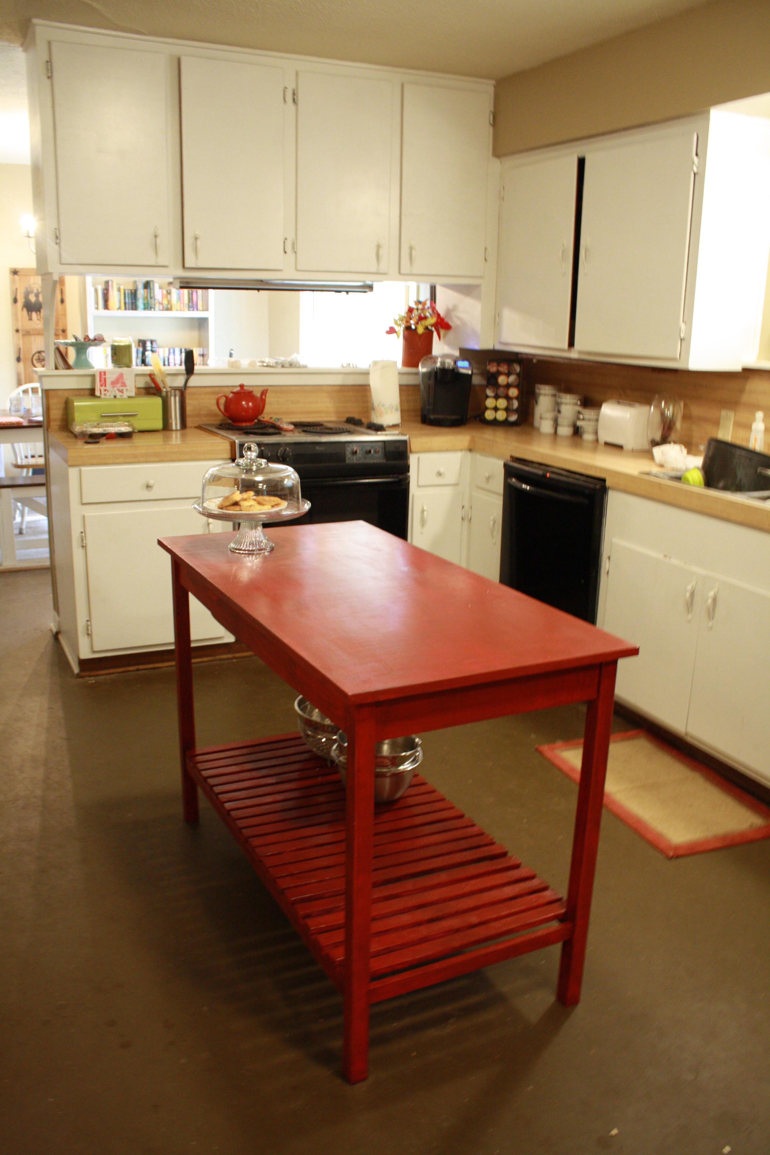 diy kitchen islands kitchen islands ideas Red slatted bottom DIY kitchen island