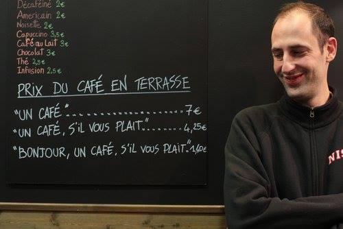 フランスのカフェに「注文の態度で値段の変わるコーヒー」が登場
