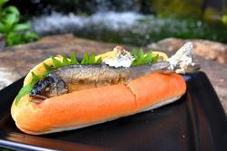 アユの塩焼きを挟んだホットドッグ?が京都水族館で人気