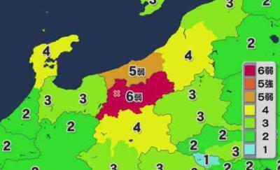 22日22時08分頃、長野県北部を震源とする強い地震 … 震度6弱 長野県北部、津波の心配なし