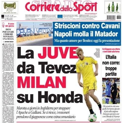 イタリアの有力紙コリエレが本田圭佑のミラン移籍を一面で報道! テベスが獲得できなければ?